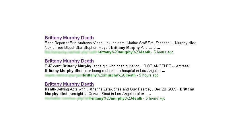 Verdächtig ähnlich: Die Suchergebnisse zur verstorbenen Schauspielerin. Laut Websense versuchen Kriminelle mittels gezielten SEO-Attacken in die oberen Suchränge zu gelangen. (Quelle: Websense)