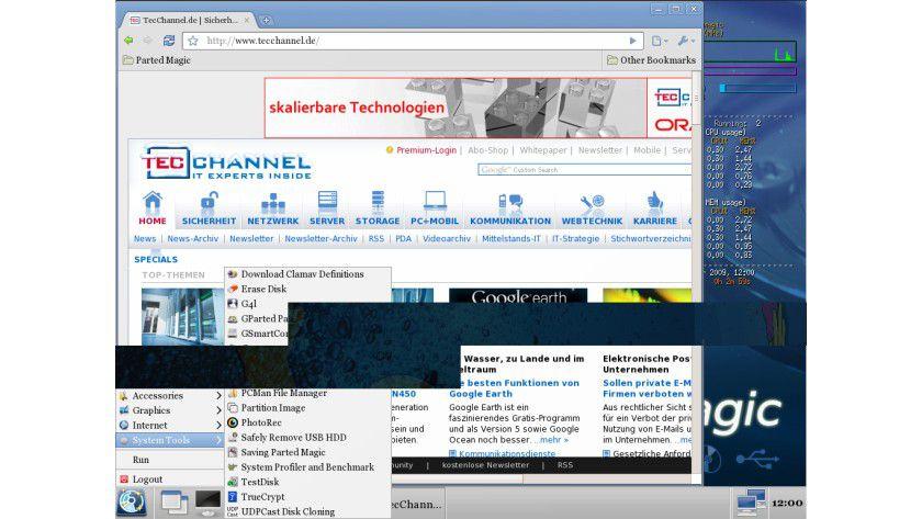 Ohne Firefox: Parted Magic 4.7 setzt die offizielle Beta-Ausgabe von Google Chrome ein.