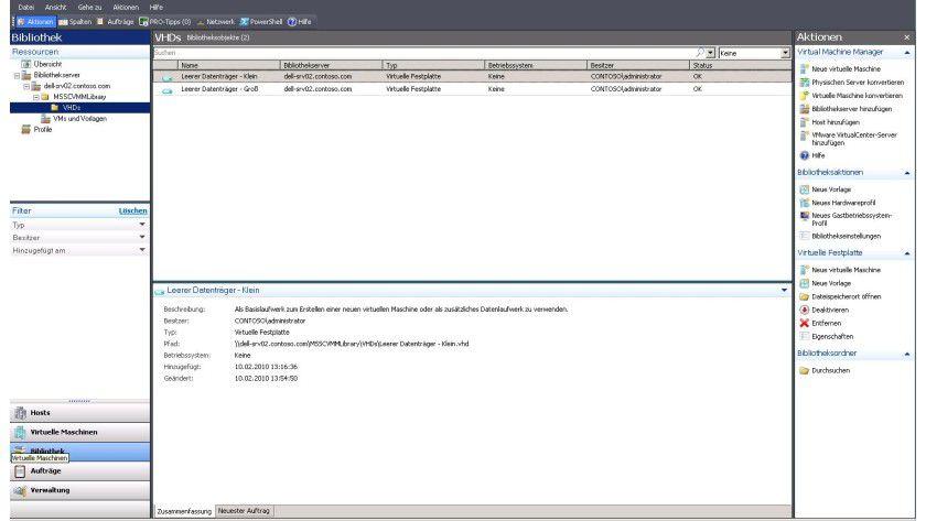Administration: zentrale Verwaltungsoberfläche für virtuelle Maschinen durch den System Center Virtual Machine Manager.