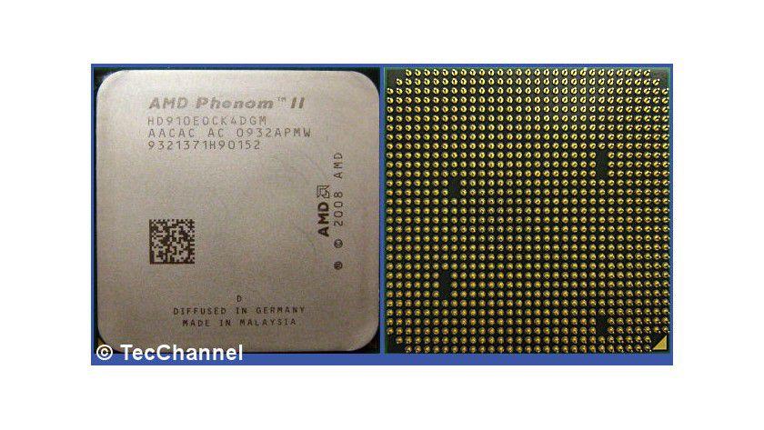 """Phenom II X4 910e: AMDs Quad-Core-Prozessore für den Socket AM3 arbeitet mit 2,6 GHz Taktfrequenz. Das """"e"""" in der Modellnummer kennzeichnet die stromsparende Ausführung mit 65 Watt TDP."""