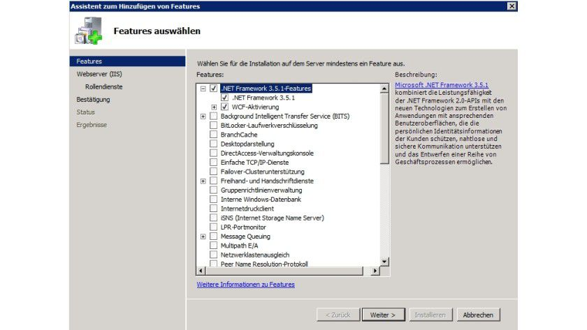 Windows SharePoint Services 3.0 SP2: Installieren von .NET Framework 3.5 unter Windows Server 2008 R2.