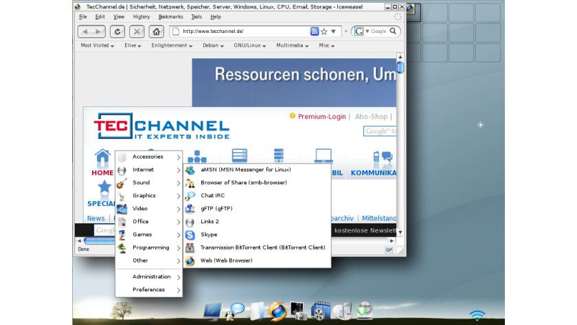 Elive: Debian Linux mit Enlightenment 17 als Dekstop-Manager.
