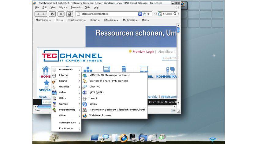 Elive: Debian Linux mit Enlightenment 17 als Dekstop-Manager.