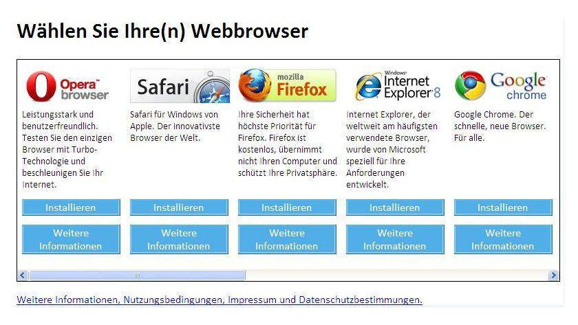 Auf Systemen, auf denen der Internet Explorer Standard-Browser ist, öffnet sich nach Installation des Updates der Inhalt von Browserchoice.eu.