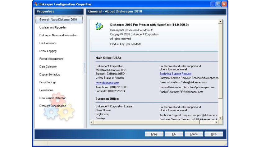 Diskeeper 2010: In einer detaillierten Übersicht informiert das Tool den Anwender über den aktuellen Status der Defragmentierung und der aktivierten Programmfunktionen.