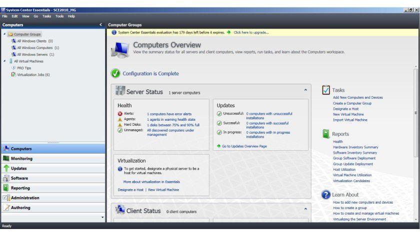 Administrativ: Die neue Verwaltungskonsole der System Center Essentials 2010.