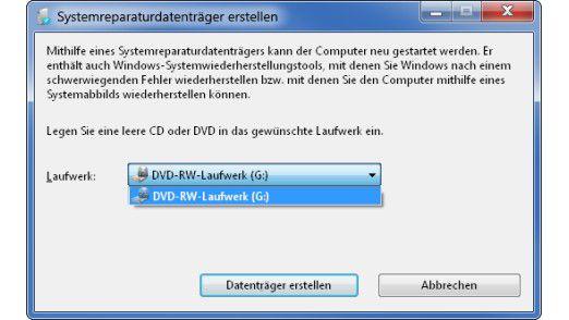 Systemreparaturdatenträger in Windows 7: Über die Notfall-CD kann der Anwender bei Startproblemen oder einer nicht mehr erkannten Installation von Windows 7 Rettungsmaßnahmen durchführen.