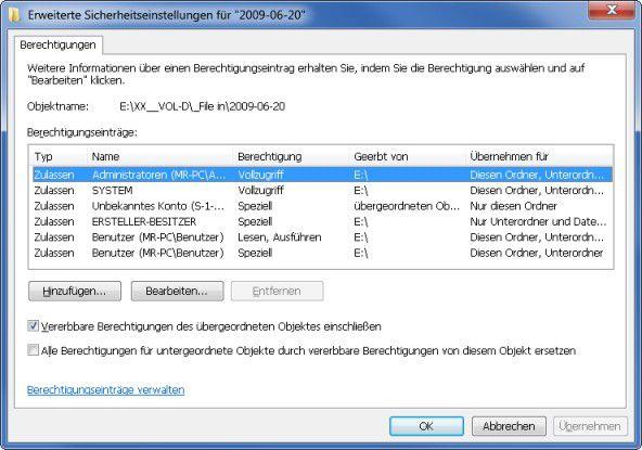 Zugriffsprobleme: Konflikte bei den NTFS-Berechtigungen zur Regelung des Zugriffs auf Datei- und Verzeichnisressourcen können die Nutzung von Dokumenten und die Ausführung von Programmen blockieren.