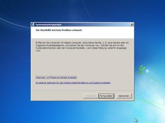 Startumgebung reparieren: Mit diesem Befehl aus dem Wiederherstellungsmenü der Installations-DVD erkennt und repariert Windows 7 fehlende oder beschädigte Systemdateien ohne Nachfrage.