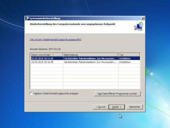 Früheren Status wiederherstellen: Der Befehl Systemwiederherstellung setzt Windows auf einen zuvor erstellten Wiederherstellungspunkt zurück.