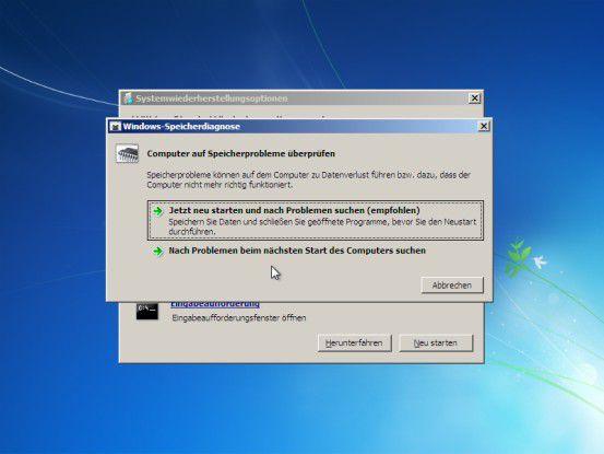 Arbeitsspeicherdiagnose: Damit kann ein möglicher RAM-Defekt als Ursache für Windows-Startprobleme bestätigt oder ausgeschlossen werden.