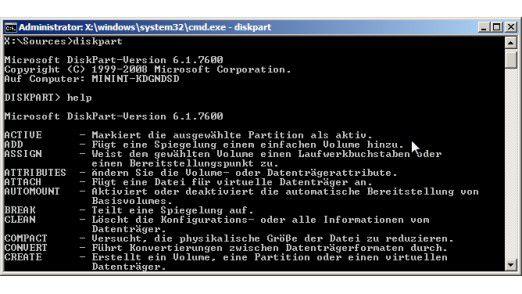 Diskpart: Das Festplatten-Tool für die Kommandozeile stellt dem Anwender ein umfangreiches Portfolio an Befehlen zur Verfügung.