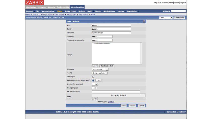 Mehrsprachig: Zabbix unterstützt mehrere Sprachen. Dazu gehört auch Deutsch.