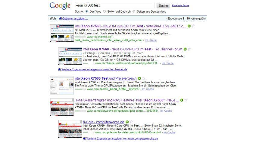 SearchPreview: Das Firefox-Plugin zeigt bei den Suchergebnissen von Google, Yahoo! und Bing gleich die dazugehörigen Thumbnails an.