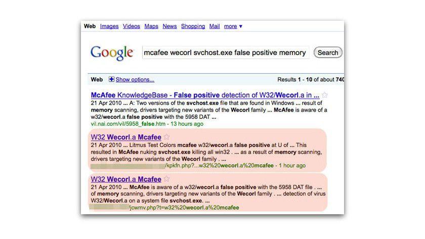 Vorsicht: Scareware-Verbreiter nutzen manipulierte Suchergebnisse, um die Nutzer auf ihre Website zu locken. (Quelle: Sophos)