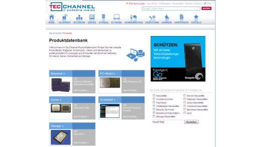 """TecChannel-Produktdatenbank: Die Produktdatenbank ist als eigener Channel verfügbar. Die derzeit fünf Themenbereiche Sicherheit, Netzwerk, Storage, PC+Mobil sowie Server sind jedoch auch nahtlos in die """"alten"""" Channels integriert."""