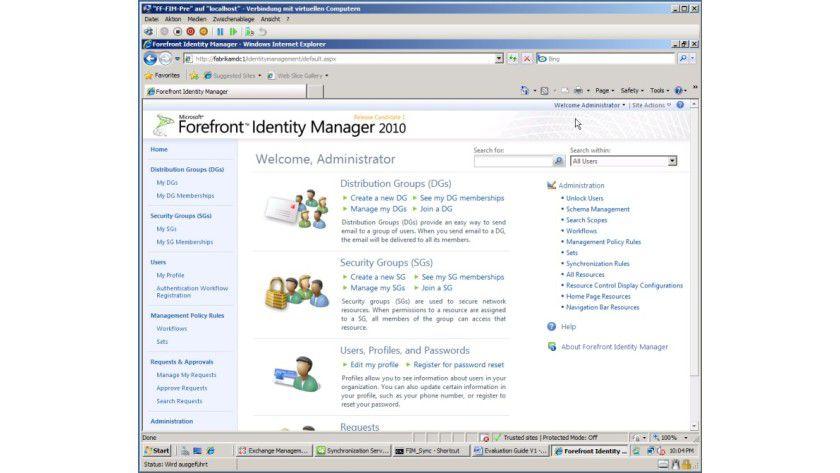 Universell: Durch die Webkonsole ist die Benutzung des Forefront Identity Managers mit jedem Browser möglich.