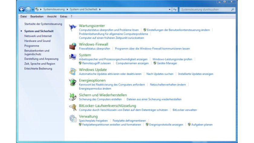 Aus einer Hand: Die Sicherheitsfunktionen von Windows 7 werden in der Systemsteuerung gebündelt.