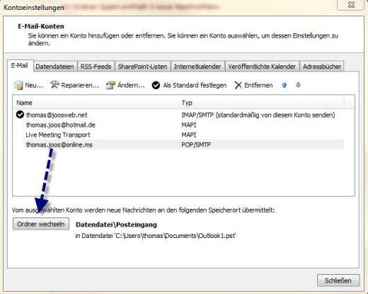 Ablage: Anpassen des Speicherorts für in eine Datendatei bei POP3-Konten.