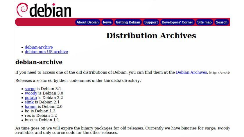 Debian-Archiv: Hier finden Sie alte und ausgediente Versionen.