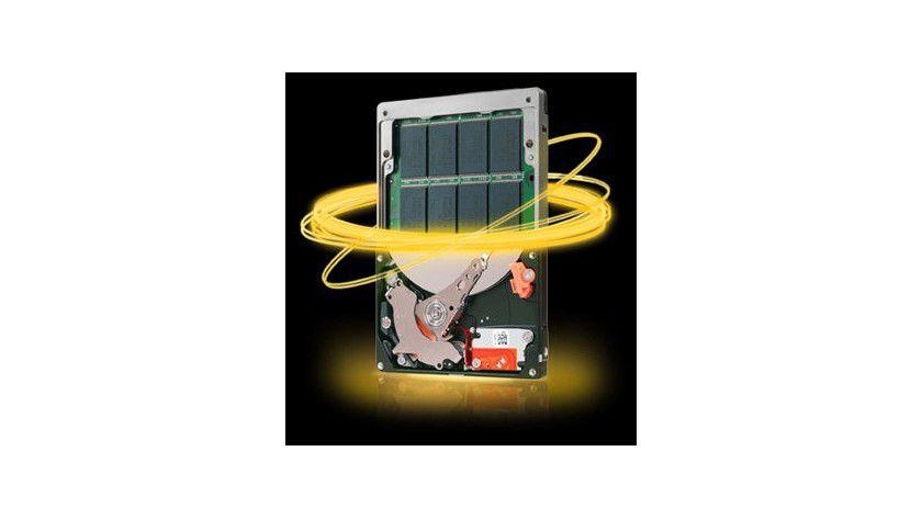 Hybrid: Die Seagate Momentus XT kombiniert klassische Festplattentechnologie mit einem 4 GByte Flash-Speicher. (Quelle: Seagate)
