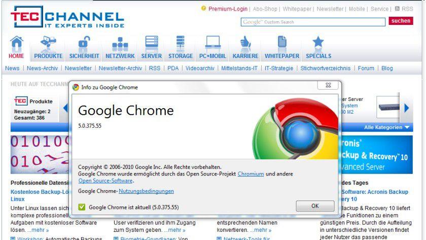 Google Chrome 5: Aktuell ist die Versionsnummer 5.0.375.55.