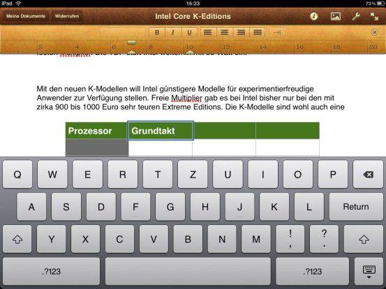 Pages: Das App erlaubt die schnelle Erstellung von Texten. Es werden zwar viele Gestaltungsmöglichkeiten geboten, für aufwendige Formatierungen ist Pages aber nur bedingt geeignet.