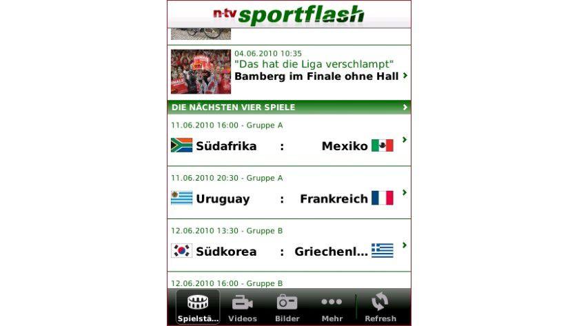 n-tv sportflash: Das App für BlackBerry-Smartphones informiert rund um die FIFA Fußball-Weltmeisterschaft in Südafrika.