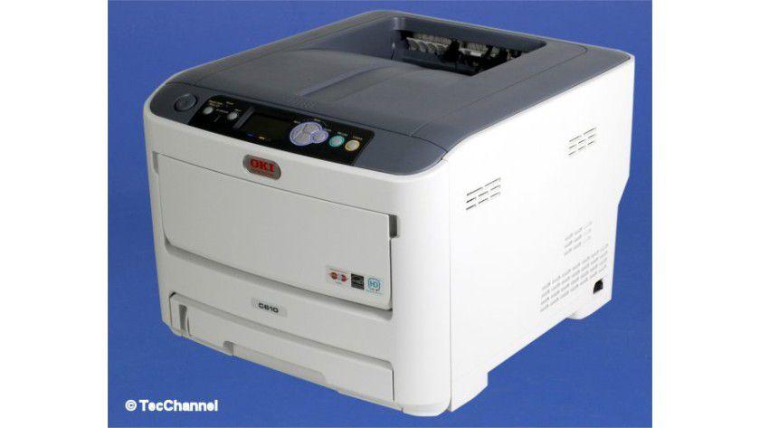 OKI C610: Das LED-Druckwerk ist mit 34 Farbseiten pro Minute spezifiziert.