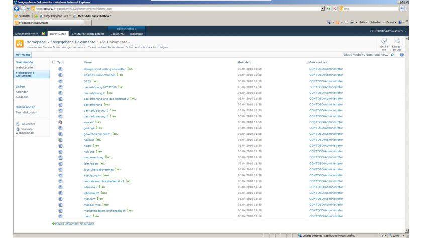 Ordnungshalber: Dokumente verwalten mit SharePoint Server 2010.