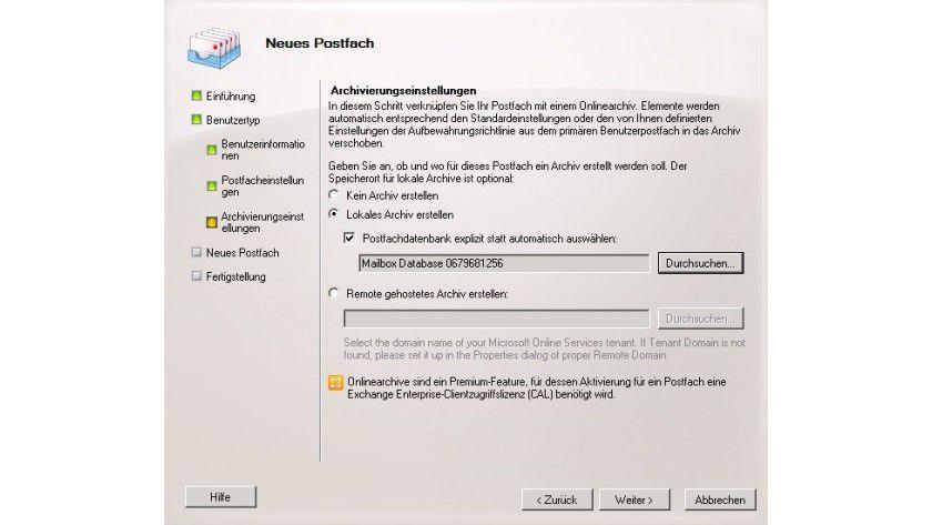 Zielorientiert: Auswählen der Datenbank, in der Sie das Archiv ablegen wollen, während der Erstellung eines neuen Empfängers.