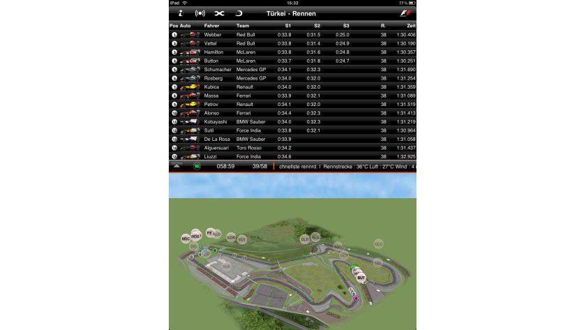 F1 2010 Timing App: Für den Formel-1-Fan bietet die iPad-App alle wichtigen Infos wie Sektorzeiten und Steckenposition auf einem Blick.