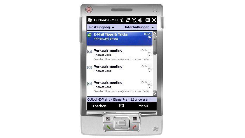 Zugriff erfolgt: Anzeigen von E-Mails auf dem Smartphone nach der Exchange-ActiveSync-Synchronisierung.
