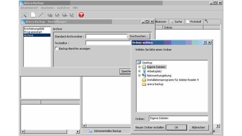 Details: Areca Backup bietet umfangreiche Funktionen zur Erstellung von Backups.