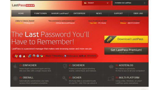 Windows, Linux, Mac OS X, Smartphone, Tablet: LastPass - Der beste Passwort-Manager für Browser