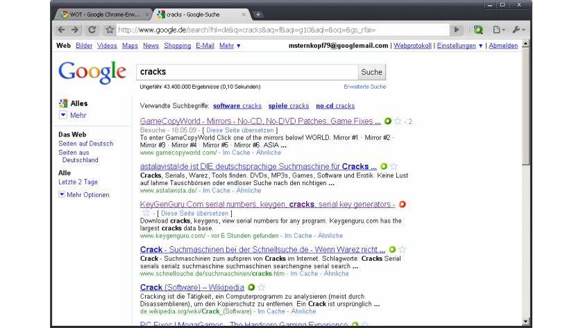 Wenig vertrauenswürdig: WOT zeigt bei den Suchergebnissen von Google mit einem Symbol-Rating an, ob die Domains der gefundenen Ergebnissen vertrauenswürdig sind. Links mit rotem Symbol sollten gemieden werden.
