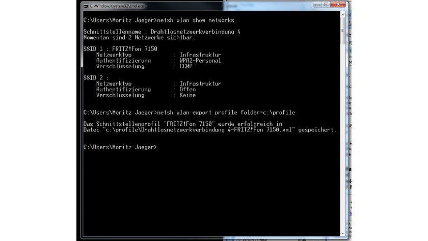 Kommandozeile: Per netsh kann man sich auch ohne Assistent mit einem WLAN verbinden.