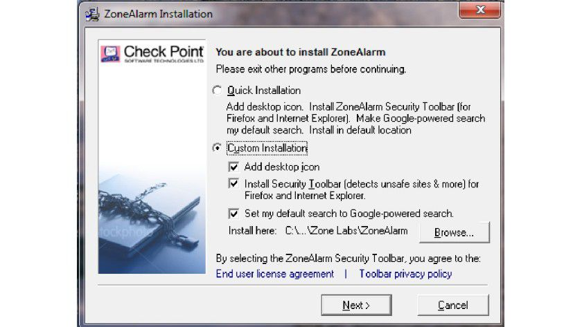 Auswählen der Installationsoptionen: Auf die Toolbars kann man bei der Installation getrost verzichten.