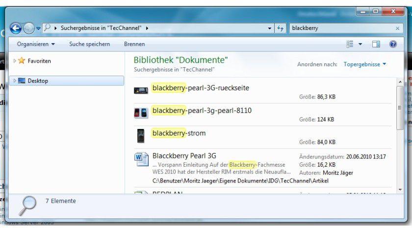 Erweiterung: Mit dem Filter Pack kann die Windows-Suche Begriffe in deutlich mehr Datei(format)en finden.