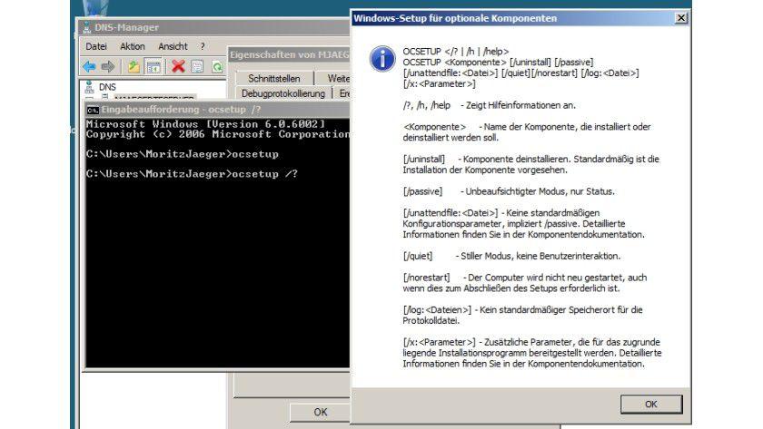 Steuerung: Mit OCSetup kann man Serverkomponenten auch ohne GUI steuern.