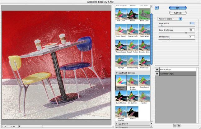 """Die Filter von """"Photoshop CS"""" erlauben wie schon in """"Elements"""" eine Vorschau der Effekte."""