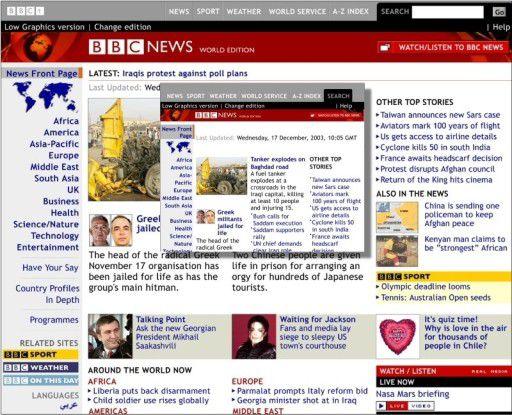 PC- und Operas MSR-Ansicht einer Website im Vergleich.