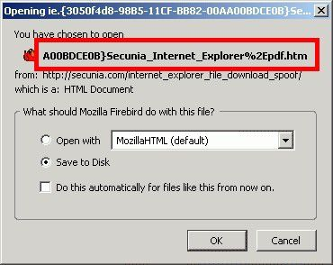 Alternative Browser wie Mozilla lassen sich nicht spoofen. Sie zeigen die Datei-Extension korrekt an - in diesem Fall HTML.
