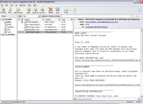 Thunderbird unterstützt auch eine dreispaltige Ansicht à la Outlook 2003.