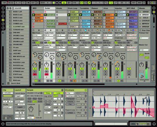 "Abletons ""Live 4"" in der Session-Ansicht (mit Audiodatei)."