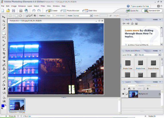 """Photoshop Elements 3.0 verwendet eine gegenüber dem """"großen Bruder"""" Photoshop CS vereinfachte Benutzerführung."""