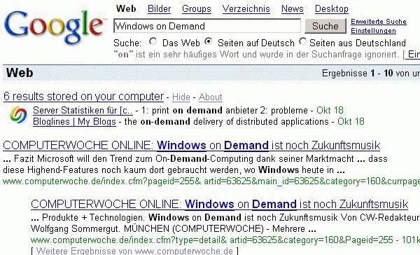 Problematisch: Die Desktop-Suche von Google speichert unter Umständen sensible Daten zwischen.