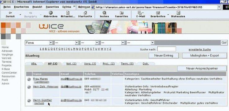 Verwaltung der Ansprechpartner im CRM-System Wice.