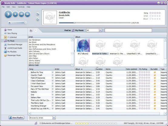 """Überraschung: Die Jukebox-Software """"Yahoo! Music Engine"""" spielt auch AAC-Material aus Apples iTunes ab."""