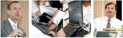 """Ein intensive Arbeitsatmosphäre kennzeichnete auch in diesem Jahr das Executive Forum der COMPUTERWOCHE. Diskussionsgrundlage waren wiederum zwei """"Dialoge"""", deren CIO-Teil von Andreas Resch (links) beziehungsweise Karl Pomschar bestritten wurde."""
